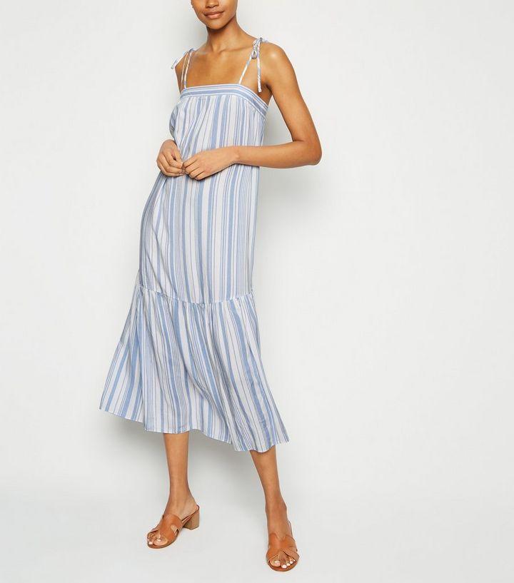 2f39ab1ecd Tall White Stripe Tiered Smock Midi Dress | New Look