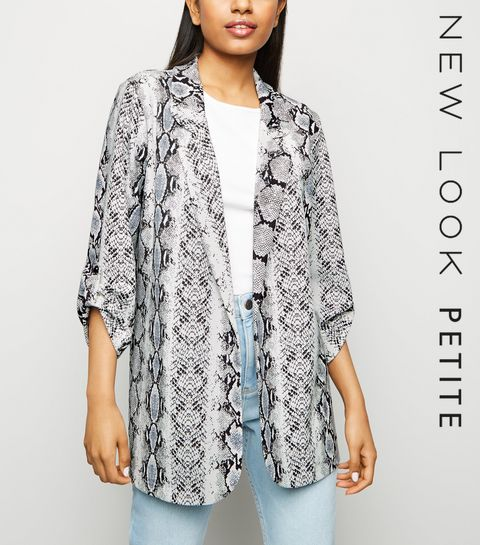 07b4e43072a ... Petite Light Grey Snake Print Blazer ...