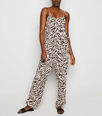 Tall Black Tiger Print Jumpsuit