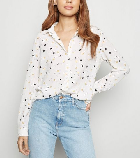 25a80d40a4babc ... White Heart Print Button Up Long Sleeve Shirt ...