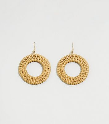 Light Brown Woven Raffia Earrings