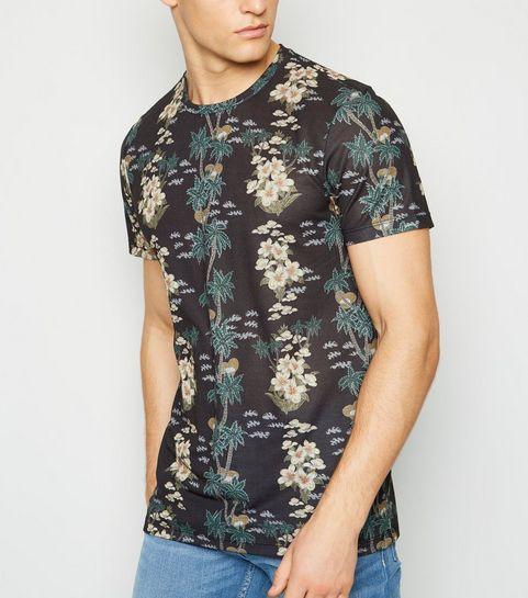 c0e81e06dce0 ... Black Tropical Palm Print T-Shirt ...