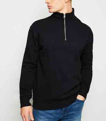 Black Zip Funnel Neck Sweatshirt