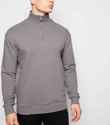 Pale Grey Zip Funnel Neck Sweatshirt