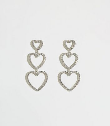 Silver Premium Diamanté Heart Earrings