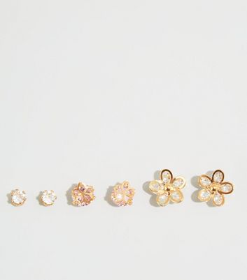 3 Pack Rose Gold Flower Stud Earrings