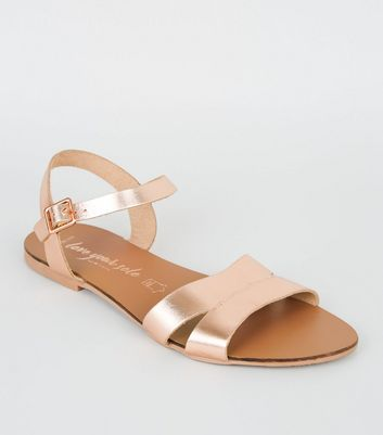 Wide Fit Rose Gold Leather 2 Part Sandals