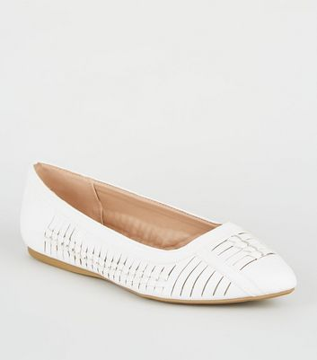 Wide Fit White Leather-Look Woven Pumps