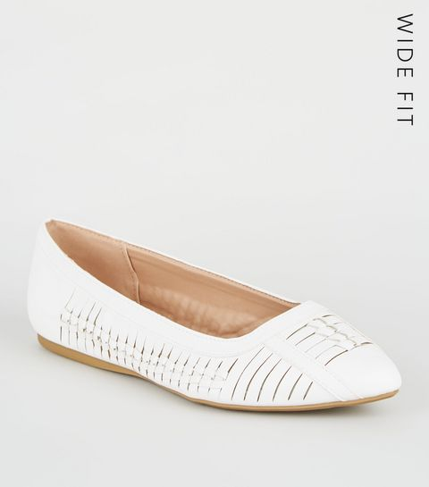 02e2d6069589 ... Wide Fit White Leather-Look Woven Pumps ...