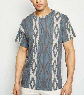 Teal Aztec Print Short Sleeve T-Shirt