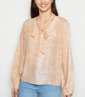 Pink Snake Print Tie Neck Blouse