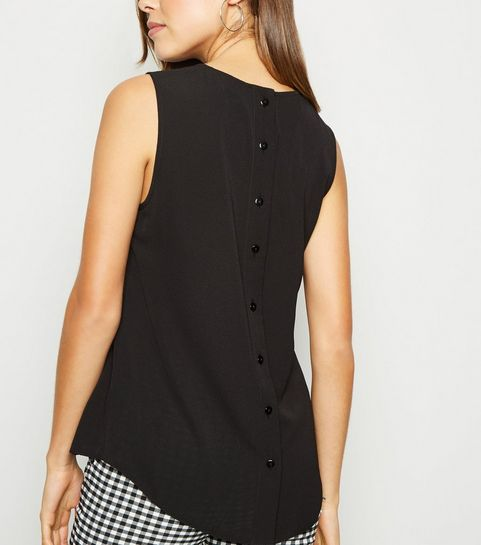 0f1c9ca51013e ... Black Sleeveless Button Back Blouse ...