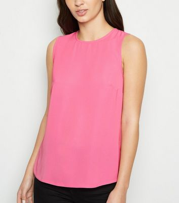 Bright Pink Sleeveless Button Back Blouse