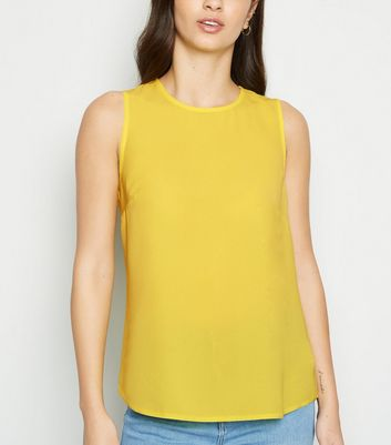 Pale Yellow Sleeveless Button Back Blouse