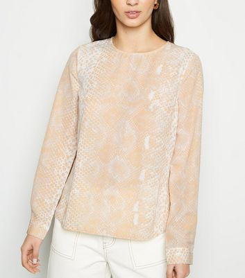 Pink Snake Print Button Back Blouse