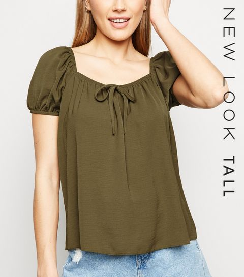 4f44724020ab ... Tall Khaki Tie Front Puff Sleeve Blouse ...