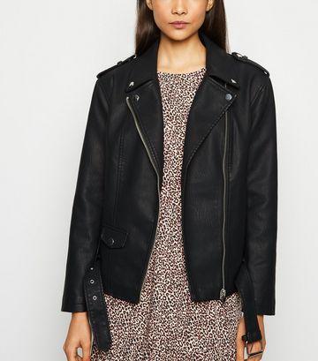 Black Leather-Look Oversized Biker Jacket