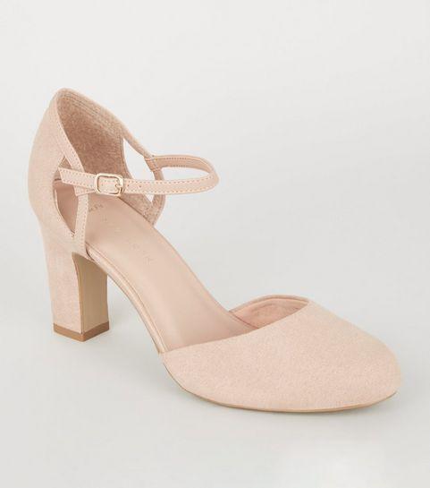 ... Wide Fit Nude Block Heel Court Shoes ...