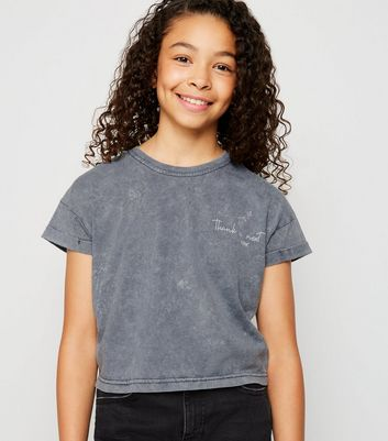 Girls Grey Acid Wash Thank U Next T-Shirt