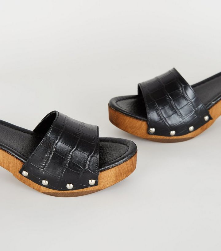 0d938ddfe36c1 Black Premium Leather Chunky Wood Sandals Add to Saved Items Remove from  Saved Items