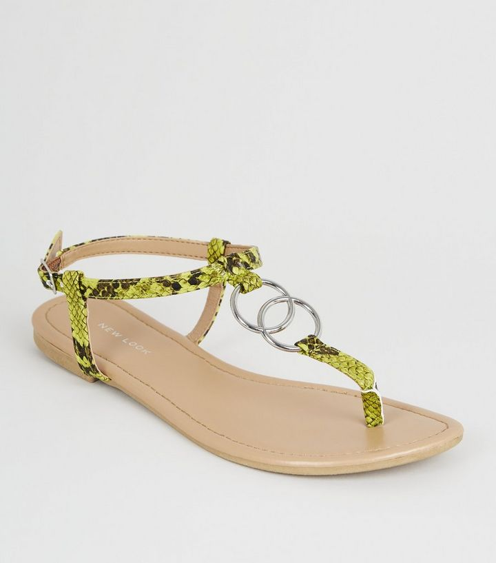 ceb4f81be9b9 Green Neon Faux Snake Ring Strap Flat Sandals