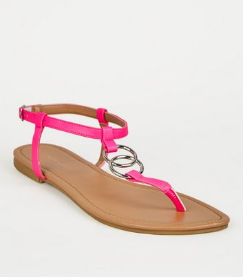 Pink Neon Ring Strap Flat Sandals