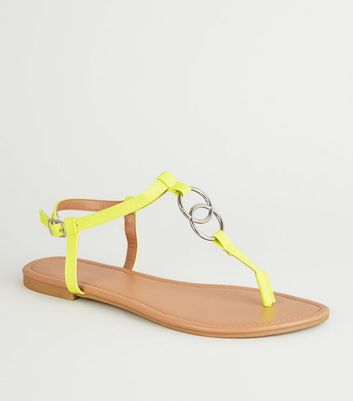 Yellow Neon Ring Strap Flat Sandals