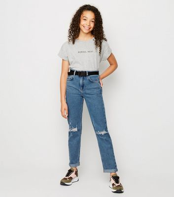 Girls Pale Blue Belted Mom Jeans