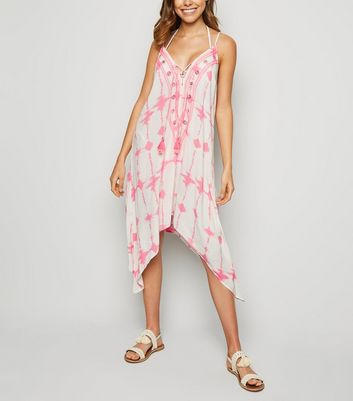 Pink Neon Tie Dye Sequin Hanky Hem Beach Dress