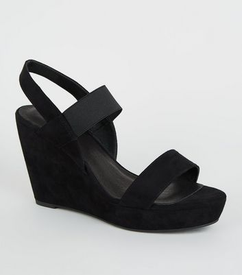 Black Comfort Suedette Wedges
