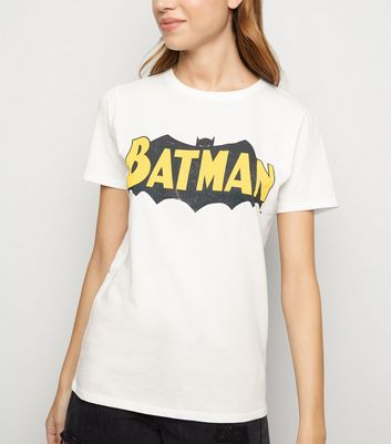White Crew Batman Logo T Shirt by New Look