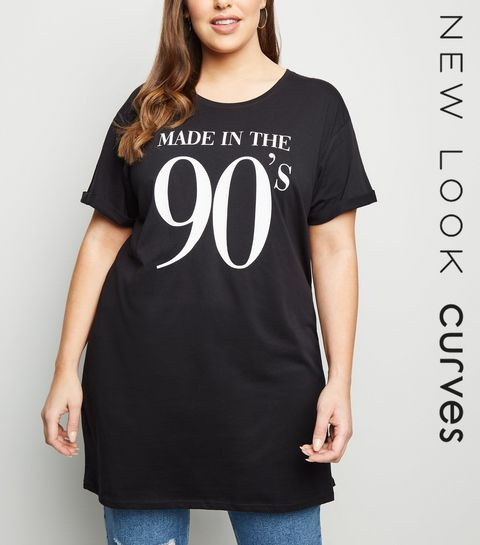 6aaf7295cb75f ... Curves Black Made In The 90 s Slogan T-Shirt ...