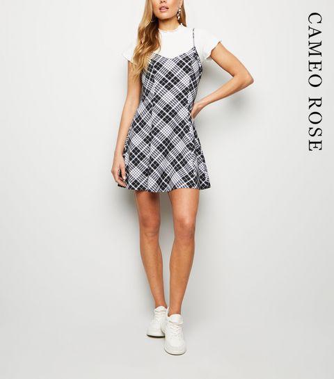 c1656c4b46e ... Cameo Rose Black Check Print Swing Dress ...