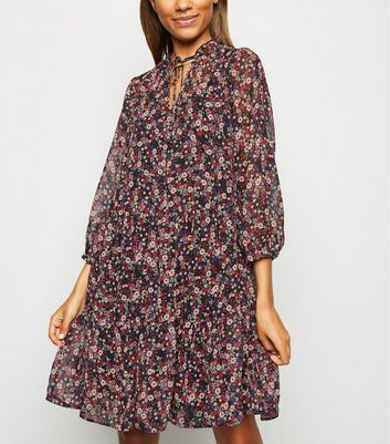 Floral Tiered Tie Neck Chiffon Dress