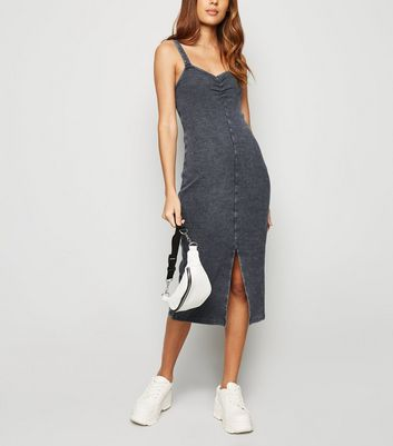 Dark Grey Acid Wash Ruched Midi Dress
