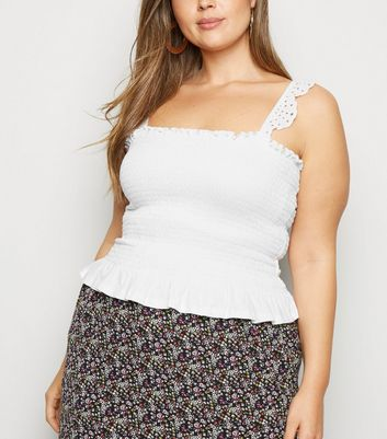 Curves White Shirred Broderie Frill Cami