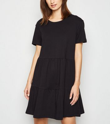 Black Short Sleeve Smock Mini Dress
