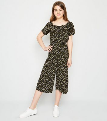 Girls Black Floral Square Neck Jumpsuit