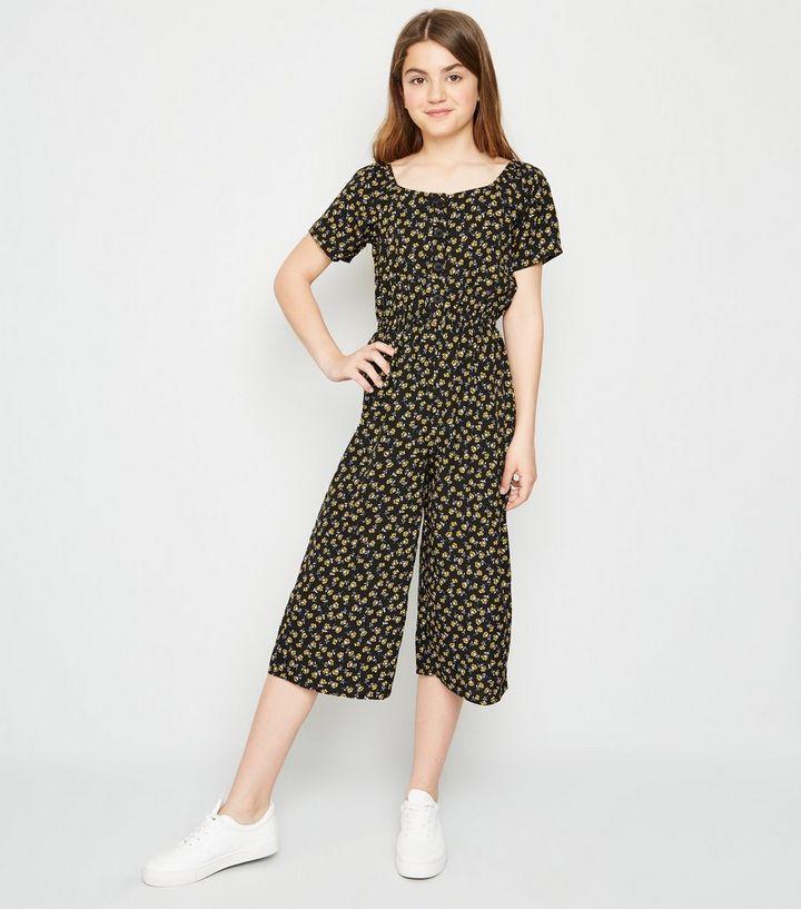 a79145cb8e0e Girls Black Floral Square Neck Jumpsuit   New Look