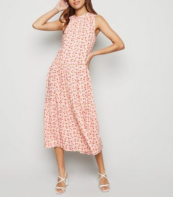 Off White Floral Smock Midi Dress