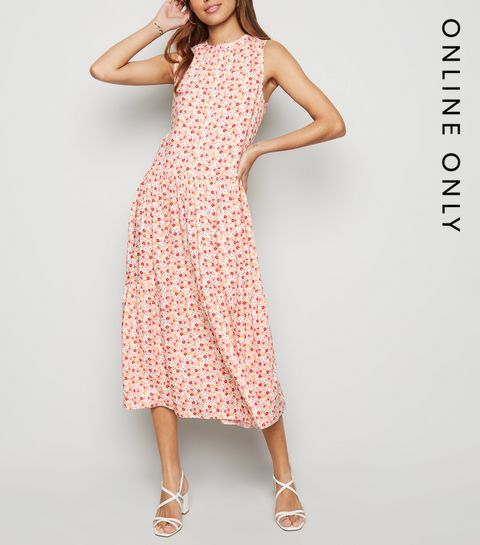 d4e27d361c ... Off White Floral Smock Midi Dress ...