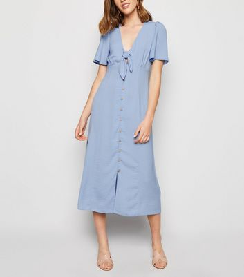 Pale Blue Herringbone Tie Button Front Midi Dress