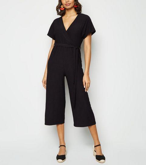 3c13afdeead1 Black Crinkle Wrap Jumpsuit · Black Crinkle Wrap Jumpsuit ...