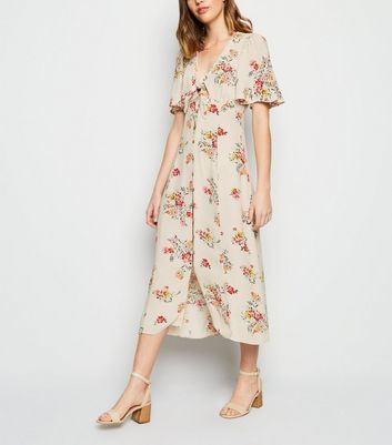 Off White Floral Tie Button Up Midi Dress