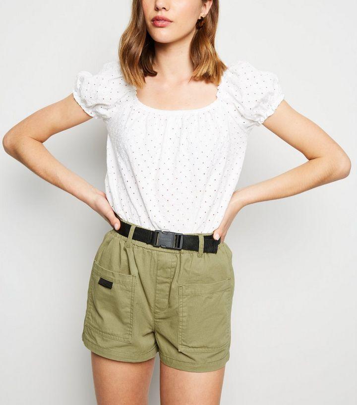 7ca92a22deec Khaki Clip Belt Denim Utility Shorts | New Look