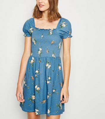 Blue Floral Shirred Milkmaid Dress