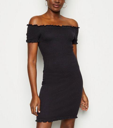 6df0710078f ... Black Bardot Shirred Jersey Mini Dress ...