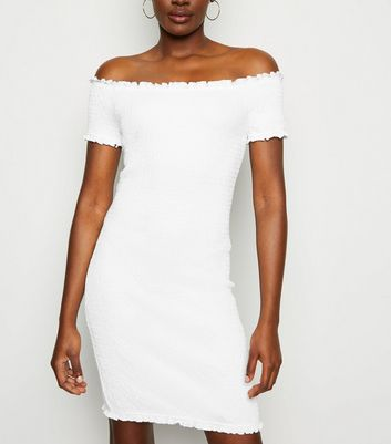 White Bardot Shirred Jersey Mini Dress