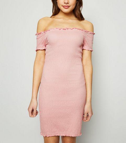 616db5e11a359 ... Pale Pink Bardot Shirred Jersey Mini Dress ...