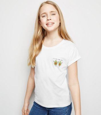 Girls White Avo Good Time Slogan T-Shirt